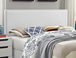 Leather Headboard Queen Smooth White Vinyl Upholstered Foam