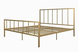 DHP Stella Metal Bed with Sturdy Metal Frame and Slats, Gold