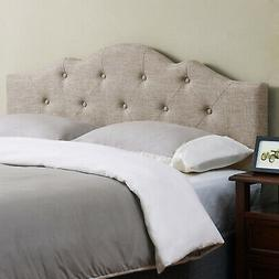 minimal tufted rounded headboard full queen beige