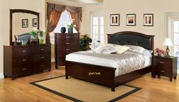 Modern Bedroom Cal.King Size Bed Rich Brown Cherry Finish He