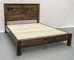 Platform Bed Reclaimed Solid Wood Rustic Modern Style Twin F