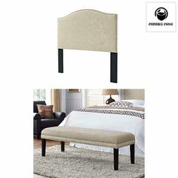 Pulaski 2 Piece Upholstered King Headboard and Bed Bench in