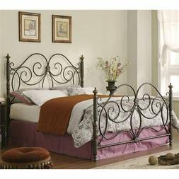 Bowery Hill Queen Iron Spindle Headboard and Footboard in Br