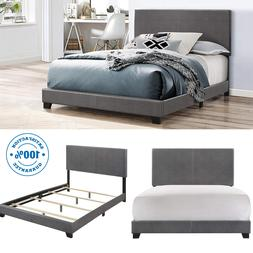 Queen Size Bed Frame Platform With Headboard Erin GRAY Faux