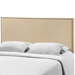 Modway Region Queen Nailhead Upholstered Linen Headboard in