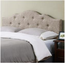 Rounded Upholstered Headboard Padded Bed Tufted Full Queen C
