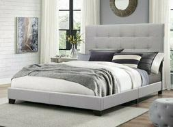 Tall and Tufted Headboard Gray Upholstery Platform Bed Frame