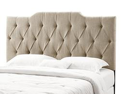 Home Meridian Tufted Linen Panel Headboard