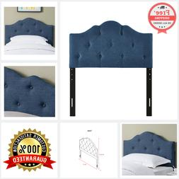Tufted Rounded Fabric Upholstered Twin Size Bedroom Headboar