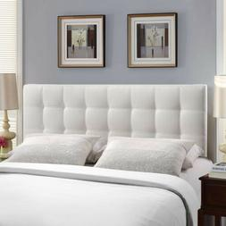 Tufted Upholstered Faux Leather Square Full Size Headboard i