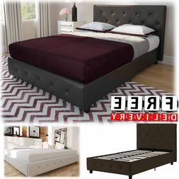 Upholstered Bed Frame Twin Queen King Modern Tufted Headboar
