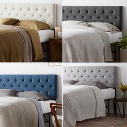 upholstered diamond tufted mid rise headboard twin