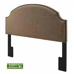 Upholstered Headboard Brown Nailhead Linen For Full Queen Be