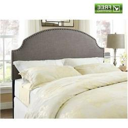 Upholstered Headboard Grey Nailhead Linen For Full Queen Bed