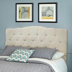 Upholstered Tufted Nail Head Button Headboard Queen Full Mod