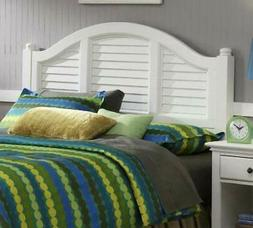 Headboard for Queen Size Bed White Finish Wood Mahogany Text