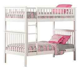 Atlantic Furniture Woodland Bunk Bed, White, Twin Over Twin