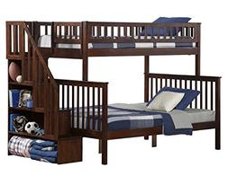 Woodland Staircase Bunk Bed, Antique Walnut, Twin Over Full